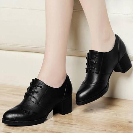 古奇天伦秋季新品中跟单鞋 休闲系带小皮鞋黑色粗跟女鞋秋鞋子