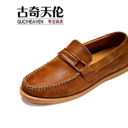 古奇天伦男士休闲皮鞋豆豆鞋流行男鞋真皮休闲鞋子英伦潮鞋