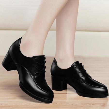 古奇天伦 2015春秋新款单鞋英伦中跟皮鞋黑色粗跟系带尖头女鞋子
