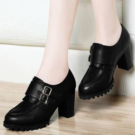古奇天伦女鞋秋2015新款粗跟单鞋女防水台高跟鞋套脚英伦小皮鞋