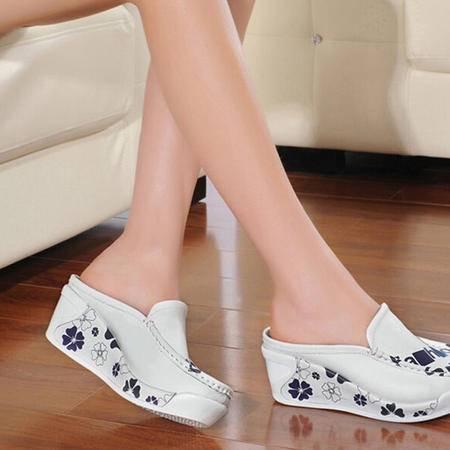 古奇天伦坡跟女拖鞋厚底松糕透气女鞋懒人半拖白色凉拖鞋夏天