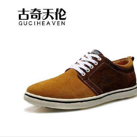 古奇天伦2015反毛牛皮男鞋拼色休闲鞋时尚板鞋子低帮鞋