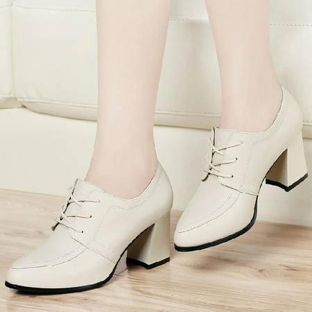 古奇天伦女鞋春秋 真皮单鞋粗跟高跟鞋英伦休闲鞋子尖头小皮鞋