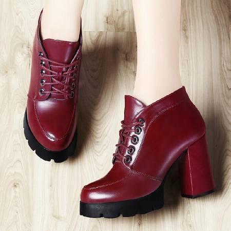 古奇天伦秋款粗跟单鞋2015秋季新款厚底鞋子高跟鞋英伦风女鞋秋鞋