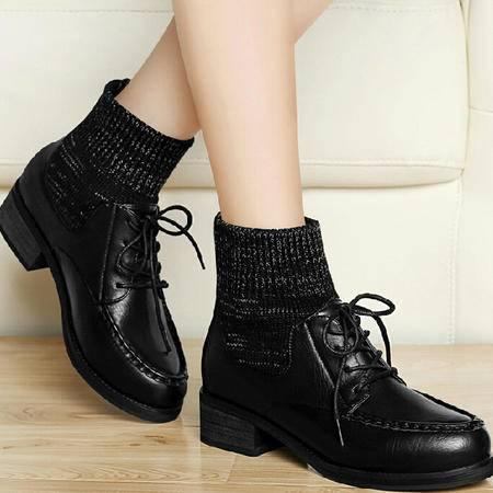 古奇天伦厚底女鞋 秋冬季新款粗跟短靴短筒靴子英伦风马丁靴潮