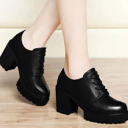 古奇天伦粗跟单鞋 秋季上新款英伦风皮鞋秋鞋秋款鞋子高跟女鞋