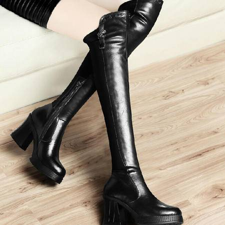 古奇天伦过膝长靴骑士靴 秋冬季新款粗跟女鞋长筒靴高筒靴靴子
