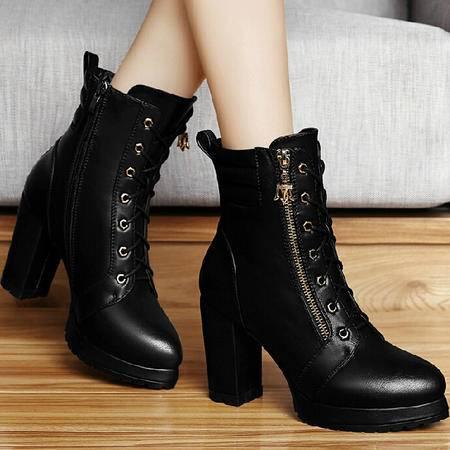 古奇天伦短筒靴子 秋季新款英伦马丁靴潮秋款粗跟短靴高跟鞋女