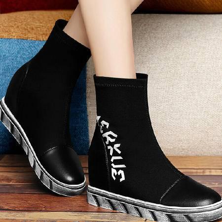 古奇天伦马丁靴女潮内增高短靴2015秋冬季新款英伦风女靴平底单靴