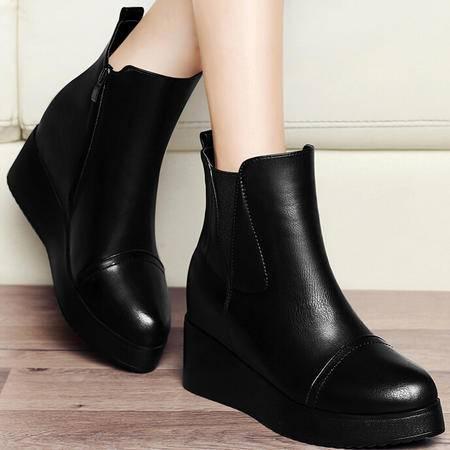 古奇天伦内增高马丁靴潮女短靴 秋冬季上新款英伦坡跟靴子女鞋