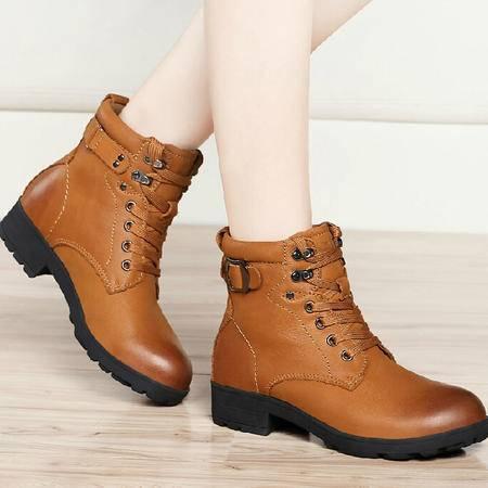 古奇天伦粗跟短靴 秋冬季新款英伦风马丁靴潮系带短筒靴子女鞋