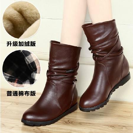 古奇天伦内增高马丁靴潮女短靴 秋冬季上新款平底短筒靴子棉鞋
