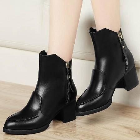 古奇天伦粗跟马丁靴潮女短靴 秋冬季上新款短筒靴子高跟女棉鞋
