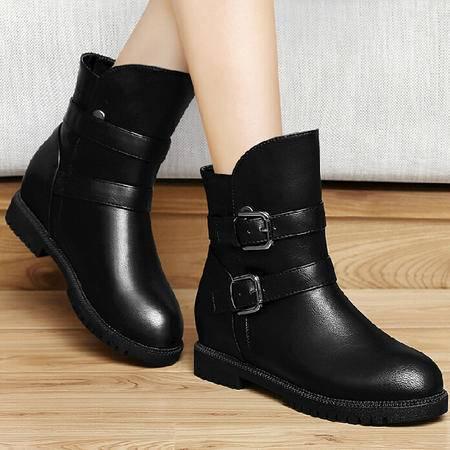 古奇天伦粗跟马丁靴潮短靴 秋冬季新款内增高女靴短筒靴子女鞋