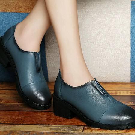 古奇天伦秋款粗跟单鞋女2015秋季新款休闲鞋英伦厚底高跟鞋子秋鞋