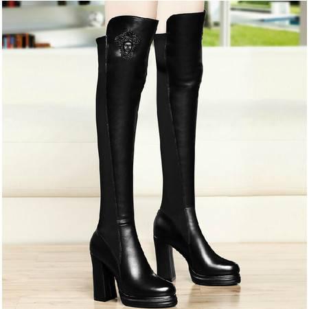古奇天伦高跟女鞋 秋冬季新款粗跟长筒靴高筒靴骑士靴过膝靴子