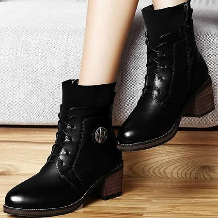 古奇天伦粗跟短靴女 秋季新款英伦风马丁靴潮短筒高跟靴子女鞋