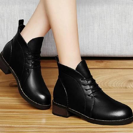 古奇天伦马丁靴潮 秋冬季新款英伦风短筒靴子粗跟短靴厚底女鞋