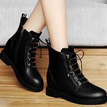 古奇天伦短筒靴子2015秋冬季上新款内增高马丁靴潮女短靴英伦女鞋