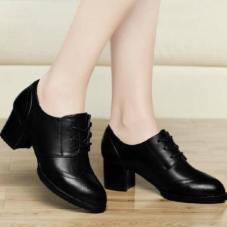古奇天伦尖头粗跟单鞋女 秋季新款布洛克秋款女鞋英伦中跟秋鞋