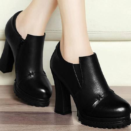 古奇天伦粗跟女鞋 秋季上新款单鞋防水台皮鞋秋鞋高跟秋款鞋子