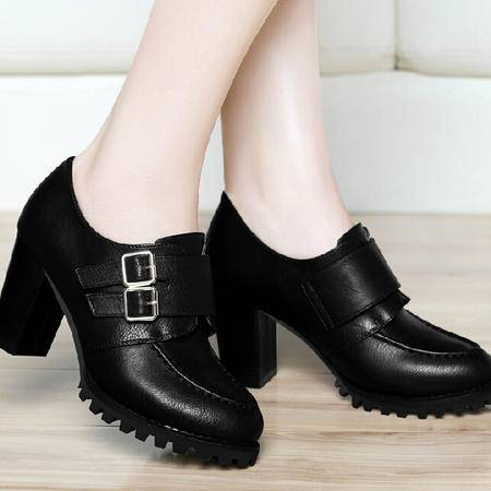 古奇天伦粗跟单鞋女2015秋季新款英伦风秋鞋防水台高跟鞋秋款鞋子