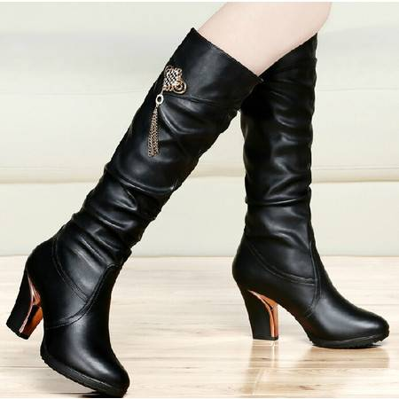 古奇天伦高跟长靴 秋冬季新款长筒靴骑士靴高筒靴粗跟女鞋靴子