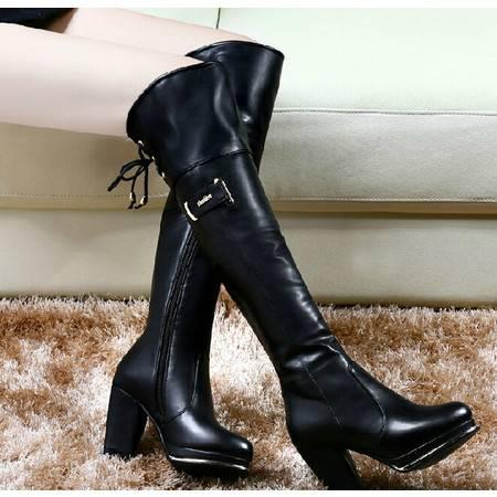 古奇天伦过膝靴子骑士靴 秋冬季新款高跟女鞋粗跟长筒靴高筒靴