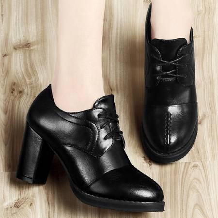 古奇天伦粗跟单鞋女 秋季新款英伦风鞋子秋款高跟鞋防水台秋鞋