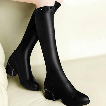古奇天伦英伦风骑士靴2015秋季新款长筒靴高筒靴高跟女鞋粗跟靴子