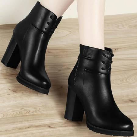 古奇天伦英伦马丁靴潮2015秋季新款短筒靴子粗跟短靴高跟女鞋厚底