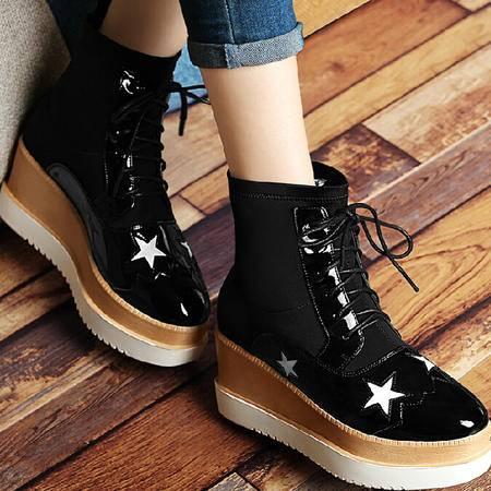 古奇天伦英伦马丁靴潮2015秋季新款短筒靴子厚底短靴星星松糕女鞋
