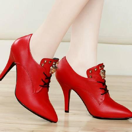 古奇天伦秋款细跟高跟鞋 秋季新款尖头女鞋子皮鞋浅口单鞋秋鞋