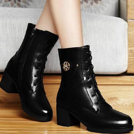 古奇天伦英伦马丁靴潮2015秋季新款短筒靴子粗跟短靴女鞋厚底高跟