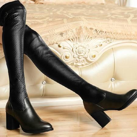 古奇天伦长筒靴 秋季新款粗跟过膝靴骑士靴高筒靴靴子高跟女鞋