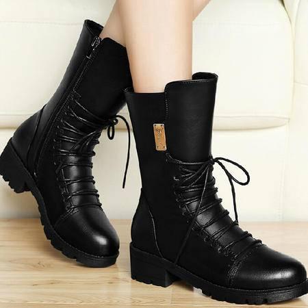 古奇天伦英伦风马丁靴潮 秋冬季新款厚底女鞋粗跟短靴短筒靴子