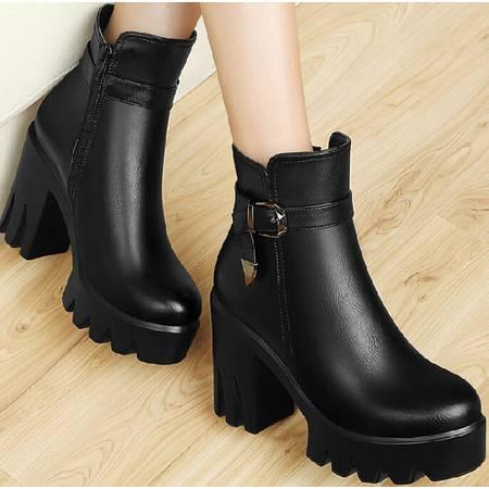古奇天伦英伦马丁靴潮 秋季新款短筒靴子粗跟短靴厚底高跟女鞋