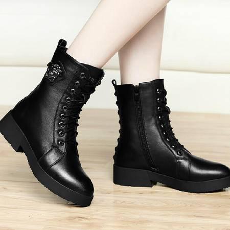 古奇天伦英伦马丁靴潮 秋季新款短筒靴子粗跟短筒厚底女鞋圆头
