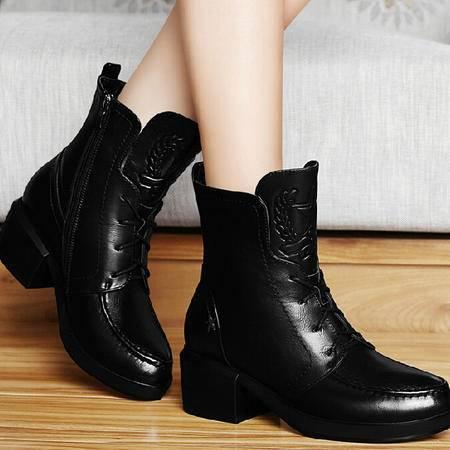 古奇天伦短筒靴子2015秋季新款英伦马丁靴潮防水台短靴粗高跟女鞋