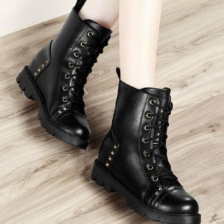 古奇天伦短筒靴子 秋季新款英伦马丁靴潮内增高短靴女鞋圆头厚