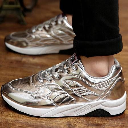 2015秋季新款男士休闲鞋韩版亮皮内增高气垫运动鞋潮流男跑步鞋