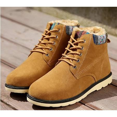 2015冬季新款男士棉鞋加绒雪地靴保暖高帮加厚棉靴韩版休闲男生潮鞋