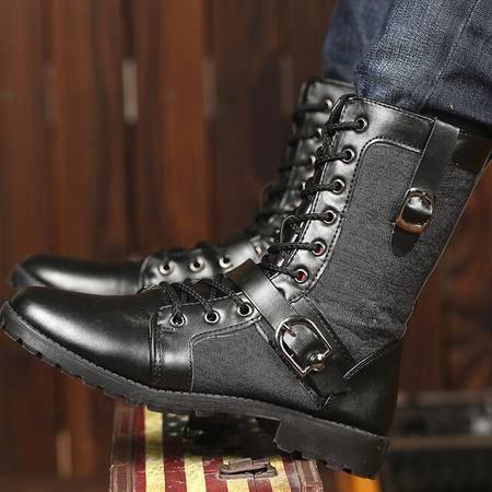 2015秋冬新款男靴复古潮流男皮靴系带中筒靴男士休闲军靴骑士靴