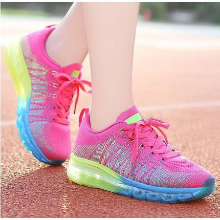 莫蕾蔻蕾 飞线百搭秋季新款编织女鞋气垫跑步鞋运动鞋