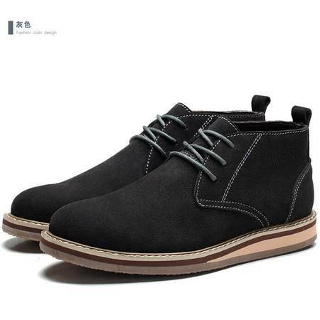 2015木林森男鞋冬季新款高帮休闲皮鞋真皮英伦休闲鞋潮流男板鞋