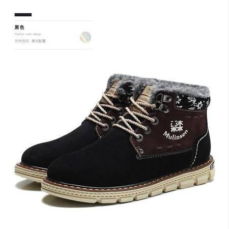 2015木林森男鞋冬季真皮雪地靴保暖加绒棉鞋休闲男靴子英伦短靴