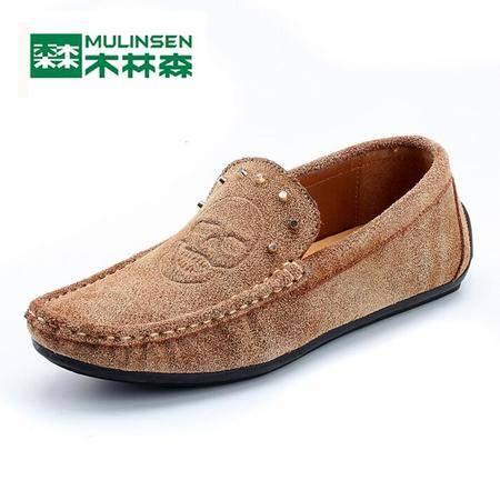 木林森2015新款男款真皮豆豆鞋透气单鞋休闲鞋驾车鞋