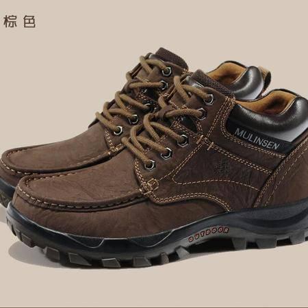 2015木林森男鞋冬季新款真皮高帮休闲鞋保暖加绒棉鞋户外工装鞋