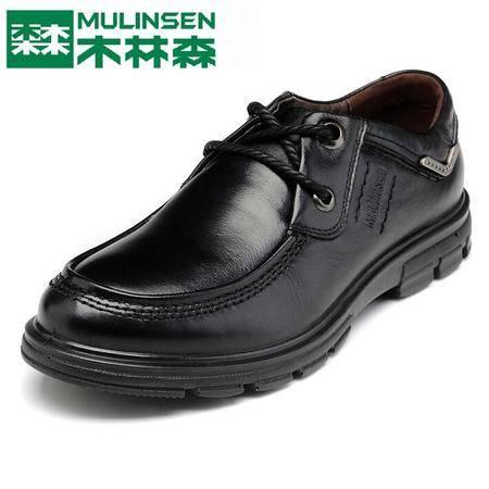 2015木林森冬季男鞋商务休闲皮鞋男士真皮系带休闲鞋头层牛皮英伦鞋子