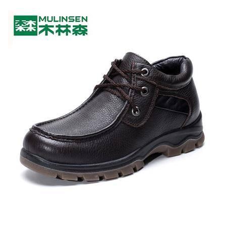 2015木林森男鞋正品冬款头层牛皮鞋加绒内里商务休闲鞋保暖鞋
